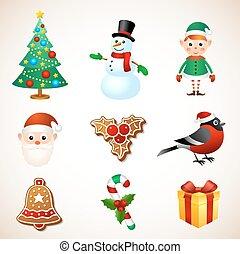 Christmas symbol set - Christmas holiday symbol object ...