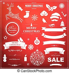 Christmas Symbol Set With Red Bokeh Background