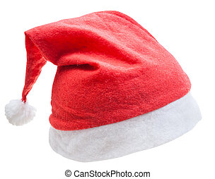 xmas red santa hat isolated on white background