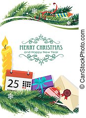 Christmas symbols and spruce branches