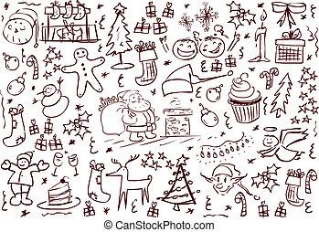 Christmas Symbols Doodles