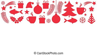 Christmas symbols elements greeting card.