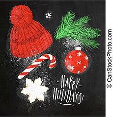 Christmas symbols hat chalk