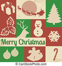 Christmas symbols on retro poster