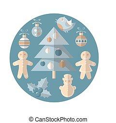 Christmas symbols set isolated on blue background.
