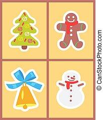 Christmas Symbols Set of Icons Vector Illustration