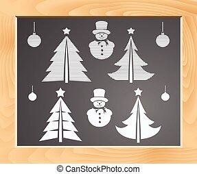 Christmas symbols set on a school blackboard, illustration
