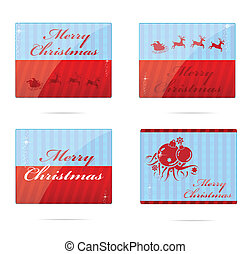 christmas symbols set red and blue color