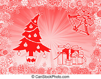 Christmas symbols - Tree, gifts and bells to represent ...