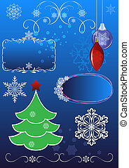 Christmas symbols vector set isolated on blue background.