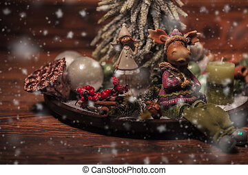 christmas table arrangement on wooden background