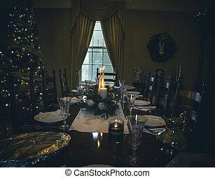 Christmas table floral arrangement