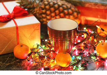christmas table fruits and drinks with color garland