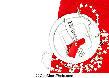 christmas table place setting decorations in red and silver