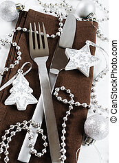 Christmas table place setting. Holidays background