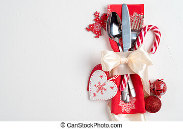 Christmas table place setting. Holidays background, top view, space for text