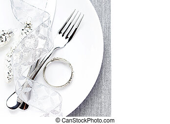 Christmas table place setting with christmas decorations isolate