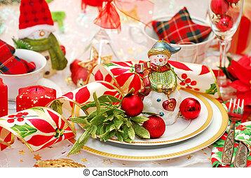 christmas table set with snowman figurine - christmas table...