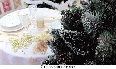 Christmas table setting. Elegant Holiday table setting in a...