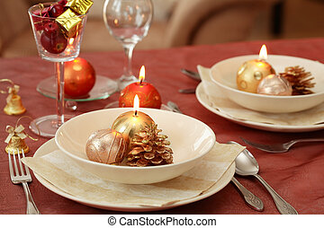 Christmas table setting - Festive table setting for...