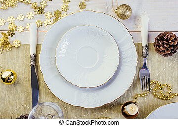 Christmas table setting, holiday decoration, new year