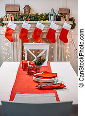 christmas table with tableware