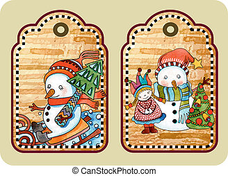 christmas tag - hand draw sketchy christmas tags with happy...