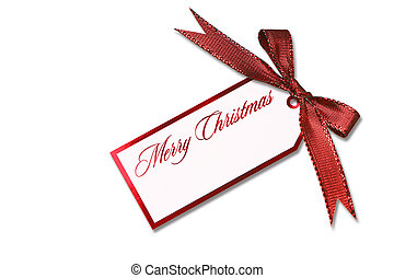 Christmas Tag Hanging From a Tied Red Holiday Bow - Merry...