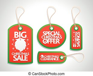 Christmas tags red with santa beard