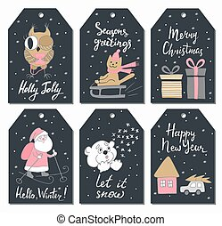 Christmas tags set with cute owl, cat sledding, gifts, Santa Claus, teddy bear, house, and car. Hand drawn style. Vector illustration.