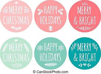Christmas tags, vector set