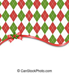 Christmas Tartan Background With Red Bow