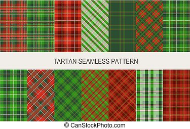 Christmas tartan seamless patterns in grin and red colors -...
