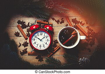 Christmas tea and alarm clock