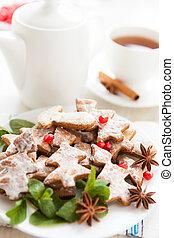 Christmas tea with cookies