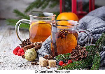 Christmas tea with orange and spices