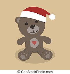 Christmas teddy bear on colored background