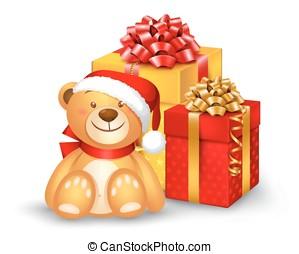 Christmas teddy bear sitting