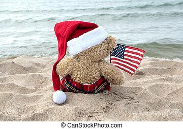 Christmas teddy bear with American flag