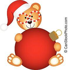 Christmas teddy bear with ball
