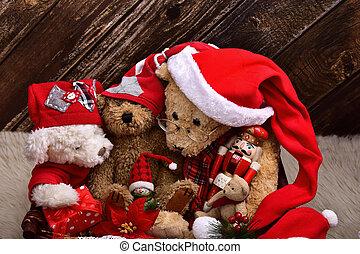 christmas teddy bears with old toys - christmas teddy bears...