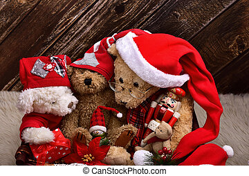 christmas teddy bears with old toys - christmas teddy bears...