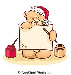 christmas teddy with sign