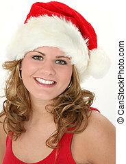 Christmas Teen - Beautiful happy teen girl in red tank top...