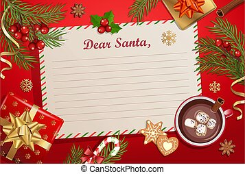 Christmas template for Letter to Santa Claus.