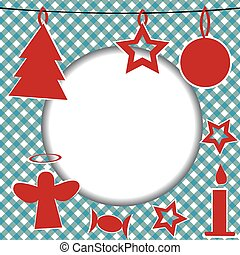 Christmas template with round frame