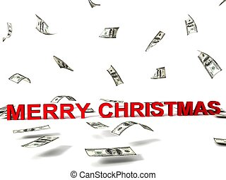 christmas text and flying dollars
