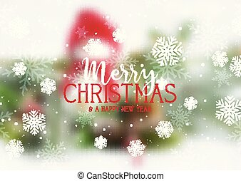 Christmas text and snowflakes on a defocussed snowman background