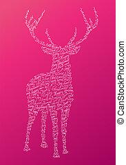 Christmas text shape reindeer composition EPS10 file.