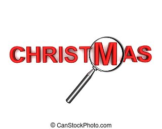 christmas text with magnifier